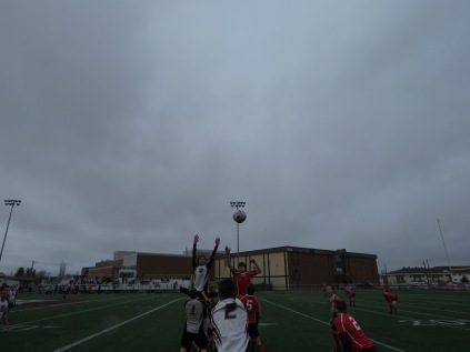 Well executed throw to the 8 man at the back of the line out